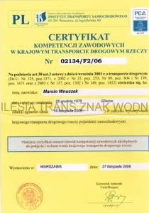 Certyfikat kompetencji zawodowych krajowy